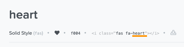 screenshot of provided code from font awesome showing name of icon