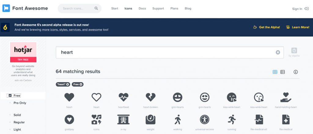 font awesome search screenshot showing first two rows of free icons  when searching for heart