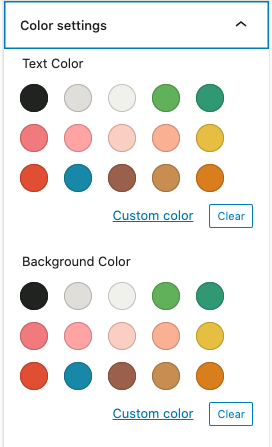 gutenberg color palette with custom colors