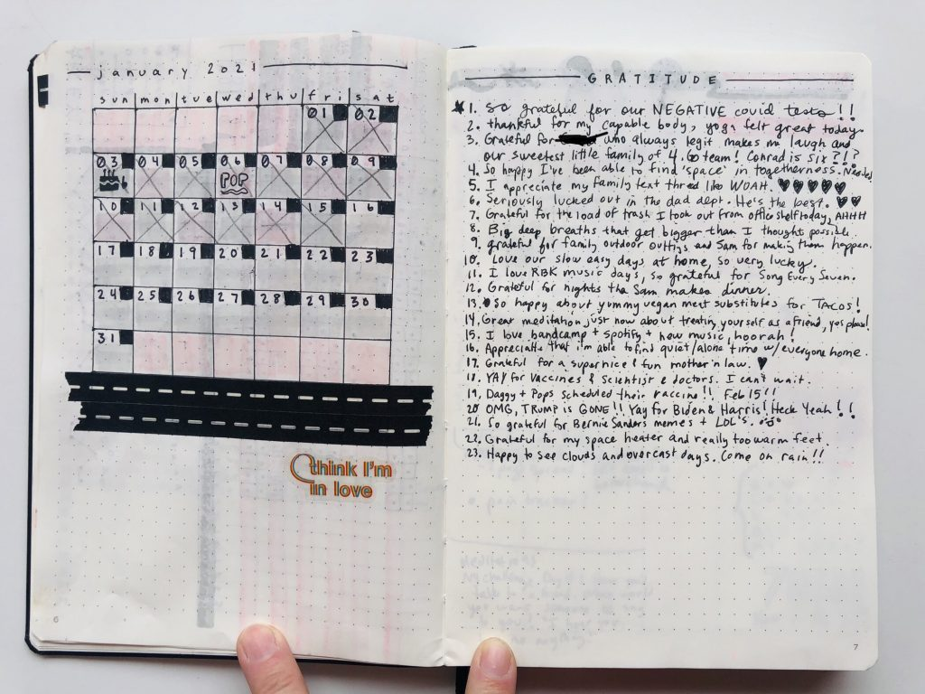 calendar and gratitude bullet journal spread